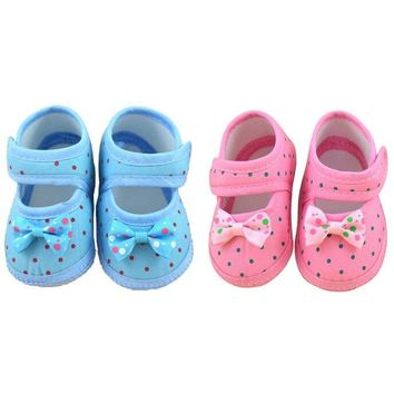 Dot Print Bowknot Boots For Baby Girl