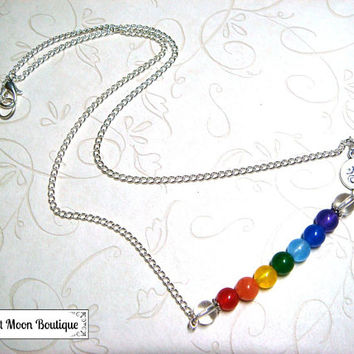 Chakra Bar Necklace Ohm Gemstone Jewelry Pagan Spiritual Metaphysical Chakra Necklace Simple Jewelry Rainbow Handfasting Wiccan Unisex