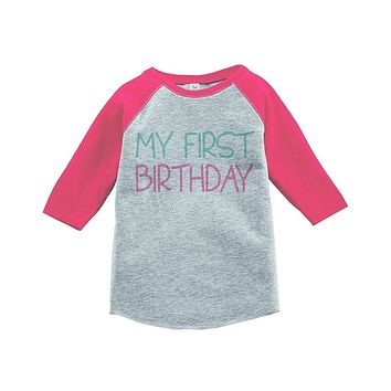 Custom Party Shop Girls' My First Birthday Vintage Baseball Tee 2T Grey and Pink