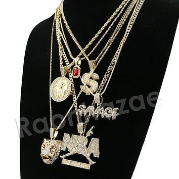 Iced Out Hip NBA Drake Tiger Savage Dollar Red Ruby Pharaoh Pendant Necklace Set