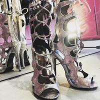 Kandi Pewter Lace Up Heel