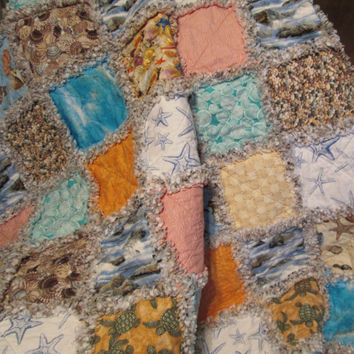 Beach Themed Rag Quilt, Couch Throw, Picnic Blanket, Beach Blanket, Seashell, Sea Turtle, Starfish, Water, Patchwork Quilt, Toddler Quilt