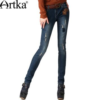Artka Women's Autumn Casual Vintage Middle Waist Embroidery Bleached Patchwork Skinny Pencil Jeans KN16343Q