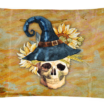 Day of the Dead Witch Skull  Canvas Fabric Decorative Pillow BB5126PW1216