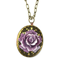 Vintage Locket Necklace Purple and White Rose Flower Filigree Antique Brass N015