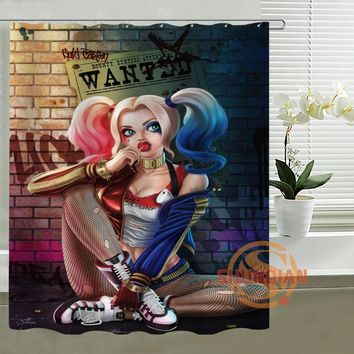 Joker and Harley Quinn Dance Custom Design Bath Waterproof Shower Curtain Bathroom Products Curtains