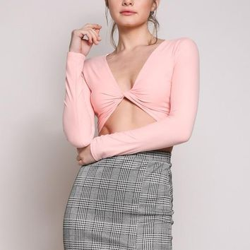 Twisted Front Long Sleeve Crop Top