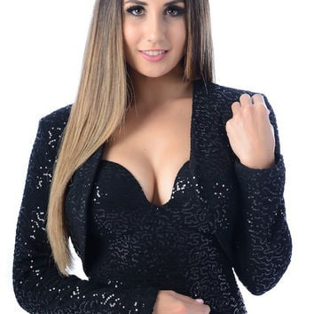FEVER Clothing Black Sequin BOLERO Cropped Jacket