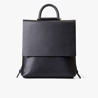 Black Leather Slim Backpack