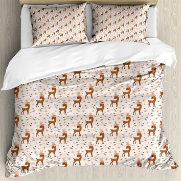 Pastoral Duvet Cover Set Deer with Floral Wreath and Arrows Wilderness Mother Nature Flora Theme Decorative 4 Piece Bedding Set