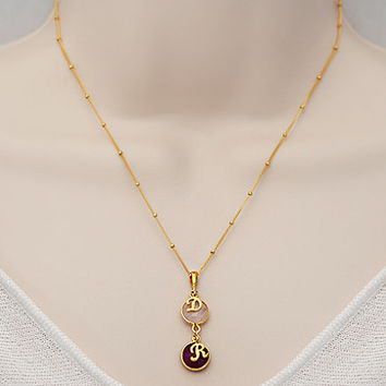 Personalized Natural Birthstone cascade Necklace - round bezel station, initial, gold or silver, mom two kids children - Danique Collection