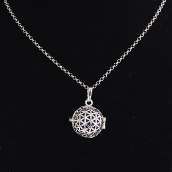 "Aromatherapy Jewelry 30"" FLOWER OF LIFE Necklace"