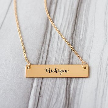 Michigan Gold / Silver Bar Necklace