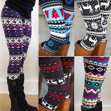 CREY6F Ladies Winter Warm Christmas Snowflakes Leggings Cotton Knit