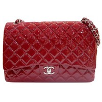 Chanel Red Quilted Shiny Patent Leather Classic Jumbo Double Flap Bag