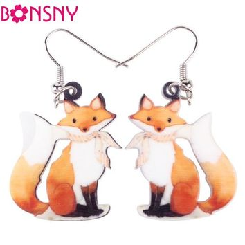 Long Drop Brand Lovely Fox Earrings Acrylic New Jewelry For Girls Women Gift Cartoon Children Earrings Accessories