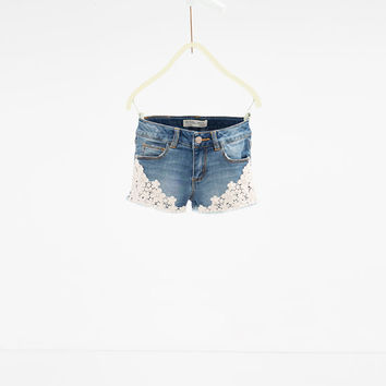 Denim crochet Bermuda shorts - SKIRTS AND SHORTS-GIRL | 4-14 years-KIDS | ZARA United States
