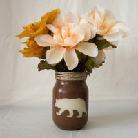 Painted Bear on Mason Jar - use as western decoration