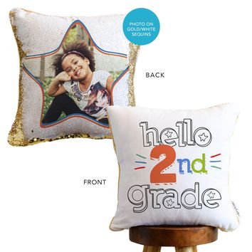 HELLO First Day of School: *Add Your Hidden Photo* to a Sequin Pillow | COVER ONLY (Inserts Sold Separately)