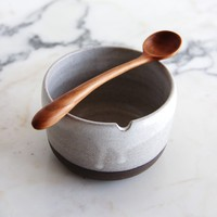 dark clay sugar bowl & cherry spoon 2