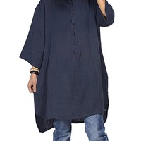 Women's Loose Fitting Casual Cotton Blouse Shirt Plus Size