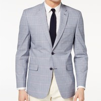 Tommy Hilfiger Men's Modern-Fit Flex Stretch Blue/Red Plaid Sport Coat Men - Blazers & Sport Coats - Macy's
