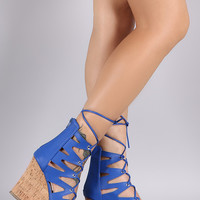Zigzag Lace Up Cork Wedge