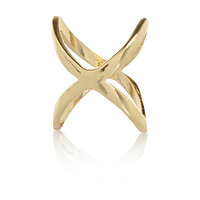 River Island Womens Gold tone cross ring