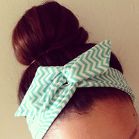 Turquoise Stripe Chevron Dolly Bow Headband by Eindre on Etsy