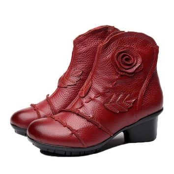 Vintage Mid Heel Handmade Soft Leather Ankle Boots