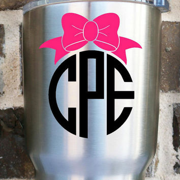 Bow Monogram Decal | Monogram Decal | Yeti Monogram | Southern |Bow Girly | Two Color Monogram | Custom | Jeep Decal | Car Decal |