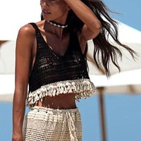 Handmade crochet beach cover up crop tops Female hollow out swimwear top Holiday knitted women camis swimsuits