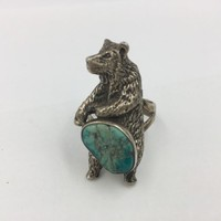 Vintage Old Pawn Grizzly Bear Sterling Silver Turquoise Ring size 12