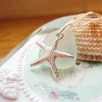 Seafoam beachglass topped with starfish - Cute nautical Jewelry for a beach lover - FREE SHIPPING