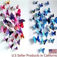 Sticker Art Design Decal Wall Sticker Home Decor Decorations 3D Butterfly/Flower