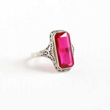 Vintage 14k White Gold Art Deco Created Ruby Filigree Ring - Antique 1920s 1930s Synthetic Pink Gemstone Fine Rectangular Statement Jewelry