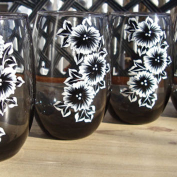 Hand Painted Black Glasses With Black and White Flowers