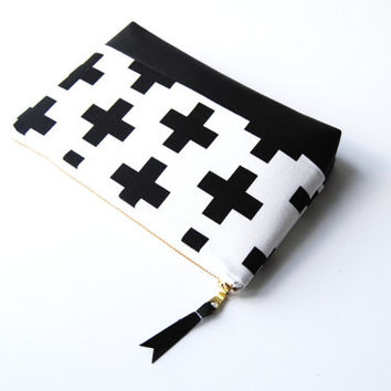 Black and white zipper pouch, black and white clutch, leather bag, swiss cross makeup bag, plus sign cosmetic case, geometric clutch