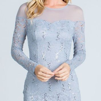 Silver Illusion Long Sleeves Short Fitted Party Dress