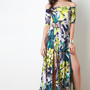 Off The Shoulder High Slit Floral Maxi Dress