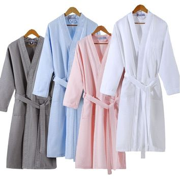Lovers Summer Fashion  Waffle Bathrobe Women Suck Water Kimono Bath Robe Plus Size Sexy Peignoir Dressing Gown Bridesmaid Robes