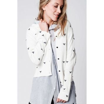 DCCK8BW CREAM SOFT KNIT CARDIGAN WITH BIRDS EMBROIDERY