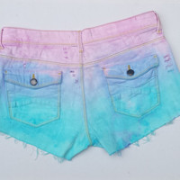 Pastel Goth Denim Shorts ALL Sizes Available Ripped Pastel Blue & Pale Pink Jean Shorts Hotpants Short Shorts