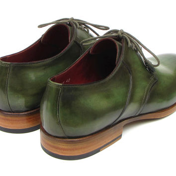 Paul Parkman Mens Green Hand Painted Derby Shoes Leather Upper and Leather Sole