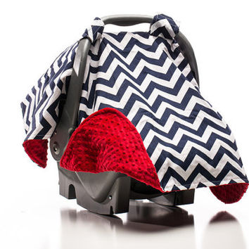 Infant Carseat Canopy, Car Seat Canopy, Carseat Cover, Baby Boy, Dark Blue Navy Chevron, Navy White, Nautical, USA