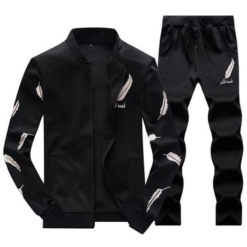 2017 Fashion Spring Autumn Winter Men Sporting Suit Jacket+Pant Sweatsuit 2 Piece Set Tracksuit  Men Clothing Mens Casual Suits