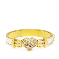 Pave Heart Leather Hinged Bangle