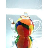 Murano Hand Blown Glass Rainbow Teapot Paperweight PP-0204
