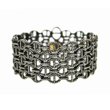 10.66tcw Pavé Round Diamonds in 925 Sterling Silver & 14K Gold Mesh Chain Bracelet