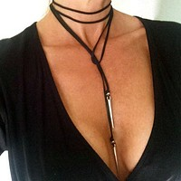 2016 Punk Rivet Long Black Velvet Choker Necklace For Women Necklaces Chokers kolye Chocker collares mujer collier ras du cou